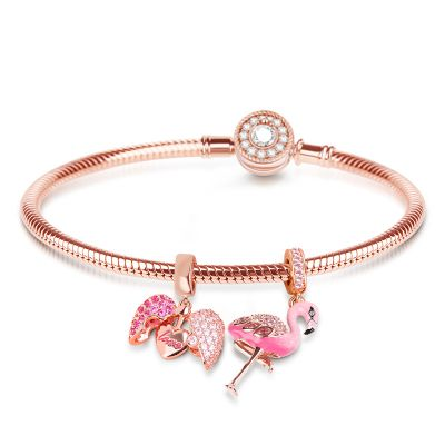 Flamingo Charm Set Bracelet