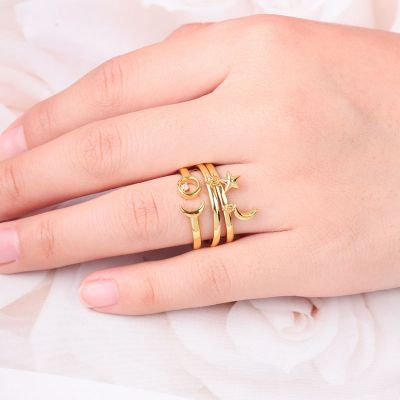Moon&Star Stackable Open Ring