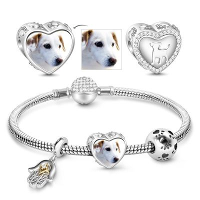 lovely Puppy Photo Charm Bracelet 925 Sterling Silver