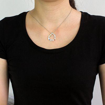 4 Birthstones Heart Necklace